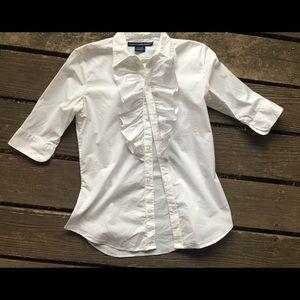 Ralph Lauren Sport ruffle front blouse